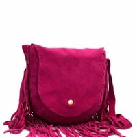 Genuine Suede Fringed Crossbody Purse