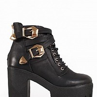 DIVA-11-12-4 Platform Military Booties Women Boots BLACK Bare Feet Shoes