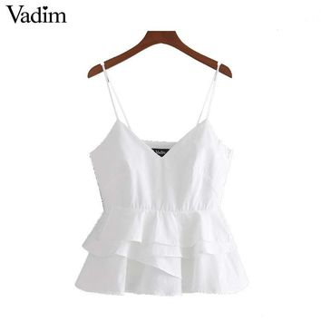 Women sexy V neck white shirts sweet ruffles sleeveless backless blouses ladies summer casual tops