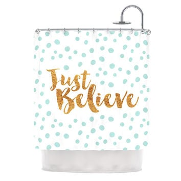 "Nick Atkinson ""Just Believe"" White Gold Shower Curtain"