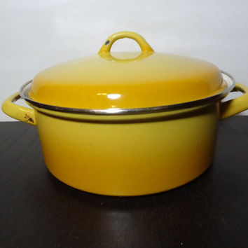 Vintage Yellow Ombre Enamelware Stock Pot - Cookware/Kitchenware