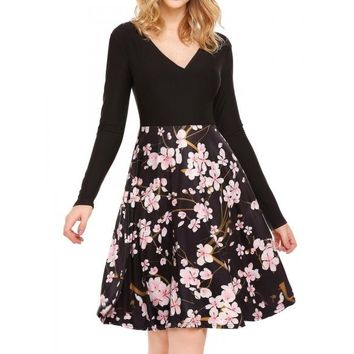 Long Sleeve Floral Patchwork Dress