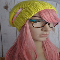 Women's hand knit slouch winter beanie, Sunshine yellow