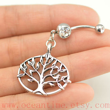 belly ring,wishing tree belly button rings,tree belly button jewelry,family tree navel ring,body piercing,friendship bellyring