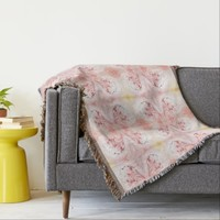 Shabby Chic Abstract Peach Pink Coral White Throw