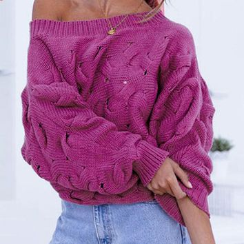 Chic High Fashion Women Sweaters Pullovers Off Shoulder Lantern Sleeve Sweater Casual Knitted Jumpers