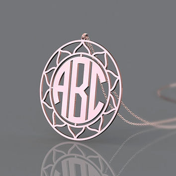 Wedding gift monogram necklace plated in rose gold or gold --1.25 inch customize monogram necklace