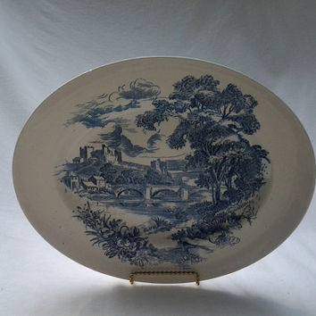 "Vintage Countryside Enoch Wedgewood (Tunstall) Ltd Vegetable Side Serving 12"" platter, blue and white castle, village scene"