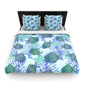"Julia Grifol ""My Colorful Fishes"" Blue Teal Woven Duvet Cover"