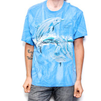 DOLPHIN cotton ocean blue TIE DYE oversized tshirt by CairoVintage