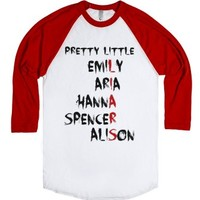 Pretty Little Liars Baseball Tee-Unisex White/Red T-Shirt