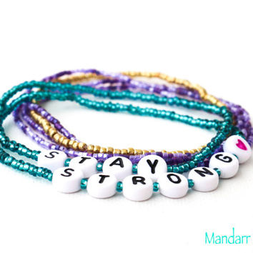 Stay Strong Beaded Bracelet, Set of Six, Seed Bead Stretch Bracelets, Recovery Gift for Her, Purple Heart