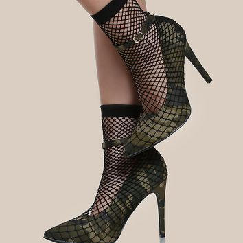 Point Toe Fishnet Sock Heels CAMO