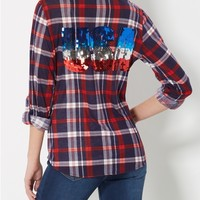 Navy Sequined USA Plaid Shirt
