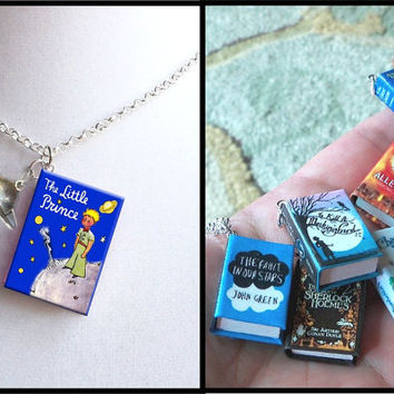 The Little Prince- Blue - with Tiny Planet Saturn Charm -Micro Mini Book Necklace