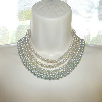 Vintage 40s 50s Five 5 Strand Gradient Color Pearl Bead Necklace Choker