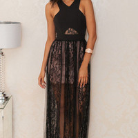 Black Criss Cross Sheer Lace Maxi Dress