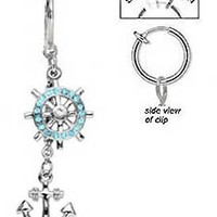 Fake Belly Navel Non Clip on Piercing Aqua Lt blue Crystals Dangling Wheel & Anchor Dangle Nautical boating Ring:Amazon:Jewelry