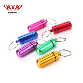 WorthWhile 2 piece/lot First Aid Kit Pill Box WaterProof Aluminum Portable Medical Drug Cases Bottle Holder Container Keychain