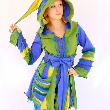 Green Blue Yellow Pixie jacket - One of a Kind - Large - READY to SHIP