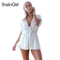Dot Printed Sexy Deep V-Neck Women Playsuits Lace Up Preppy Brief Rompers Casual Chic Female Summer Plasyuits