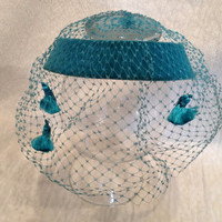 Turquoise Blue Veiled Hat with Tassels