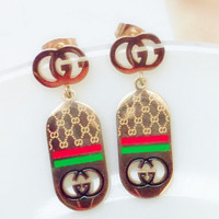 Gucci green red long  earrings