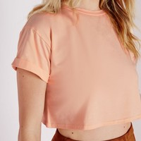 ROLL SLEEVE COTTON CROPPED T SHIRT NUDE