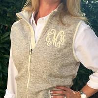 Monogrammed zip Vest Heathered Oatmeal Fleece  Font shown INTERLOCKING in Ivory