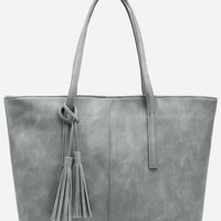 Distressed Tassel Pendant Tote Bag