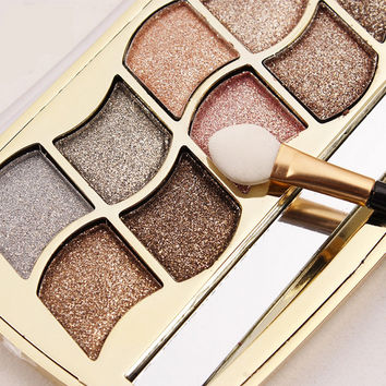 12 Colors Diamond Bright Colorful Eye Shadow Palette Super flash paleta de maquiagem Glitter eyeshadow with brush