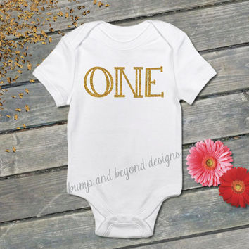 Baby's First Birthday Shirt One Gold Glitter Infant One 1st Birthday Outfit Baby Girl Bodysuit One Year Old READY TO SHIP 012