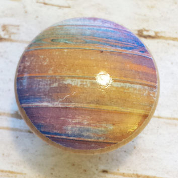 Distressed Wood Knob Drawer Pulls, Orange Blue Purple Green Tones, Old Wood Cabinet Handles,  Reclaimed Wood, Made To Order, Style 5