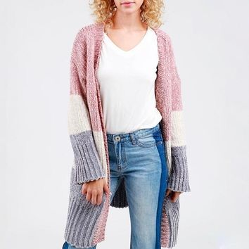 darling three-tone open front velvet chenille long sleeve sweater cardigan - canyon rose