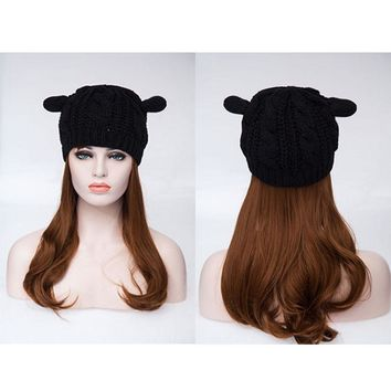 Women Ladies Beret Winter Warm Cat Ears Beanie Knit Crochet Hat Slouch Ski Cap