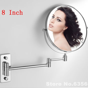 Modern 8 Inch Double Side Bath Mirrors Shave Makeup Extend Arm 3x Magnifying Espelho Do Banheiro Bathroom Sanitary Accessories