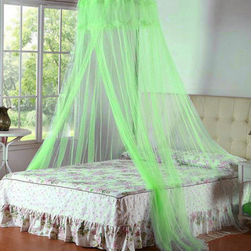 Hot 1pc Elegant Round Lace Insect Bed Canopy Netting Curtain Dome Mosquito Net Worldwide Classical Palace Mosquito Nets V1798