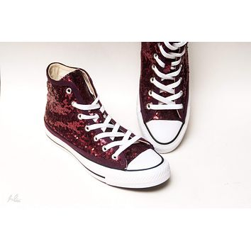Burgundy Red Starlight Sequin High Top Sneakers