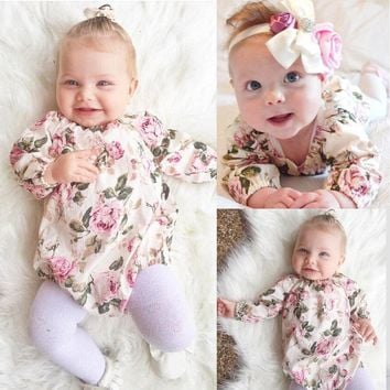 Floral Long Sleeve Infant Baby Girl Kid Long Sleeve Romper Jumpsuit Cotton Outfit