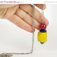 VALENTINES SALE Yellow red necklace Long wood necklace Pendant necklace Red blue ceramic necklace Boho necklace Handpainted jewelry Everyday