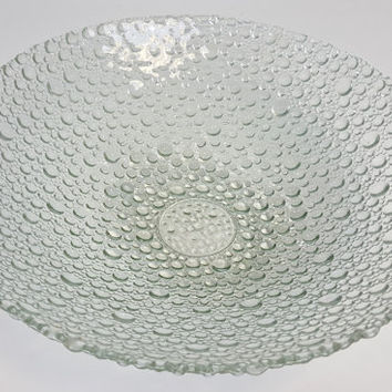 Large Vintage Pebble Art Glass Bowl Clear Bubble Glass Bowl Large Serving Bowl Asymmetrical Art Glass Bowl Vintage Retro Decorative Dish