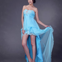 A-line Strapless Chiffon Asymmetrical Prom Dress With Beading at Dresseshop