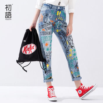 Toyouth Spring New Arrival Fashion Jeans Women Scrawl Print Pencil Pants Lady BF Style Loose Casual Zipped Jeans Mid Waist