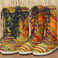 Ethnic Womens Combat Boots Laos Embroidered Mid Calf Lace Up Vegan Boho Boot 8