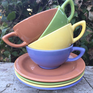 Mid century modern hollywood craftsman pastel dishes, Midcentury pastel dish set, Nasco Hollywood craftsman plates, bowls, cups and saucers