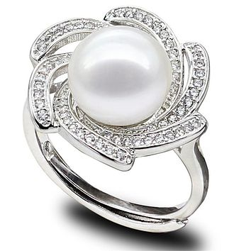 SNH 10-11mm button AAA 100% real natural freshwater pearl ring 925 sterling silver cultured genuine pearl ring free shipping