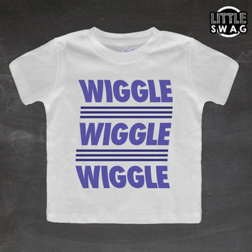 Wiggle Wiggle Wiggle Blue (white shirt) - toddler, kids t-shirt, children's, kids swag, fashion, clothing, swag style
