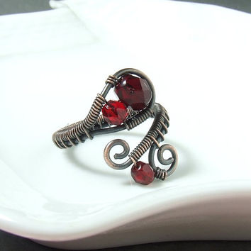 Red copper ring burgundy rustic ring handmade Valentine jewelry