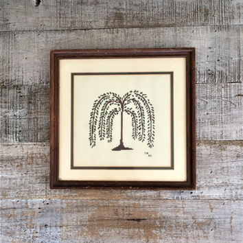 Weeping Willow Cross Stitch Embroidery Wall Art Rustic Wall Art Mid Century Framed Cross Stitch Wall Hanging Folk Art Wall Hanging