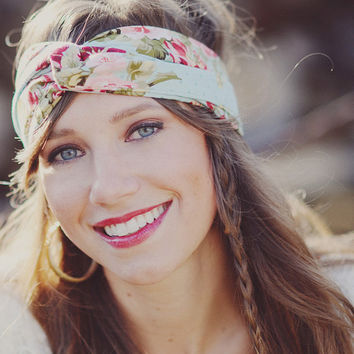 Floral Bohemian Head Wrap /// Jessica by PixelandHank on Etsy